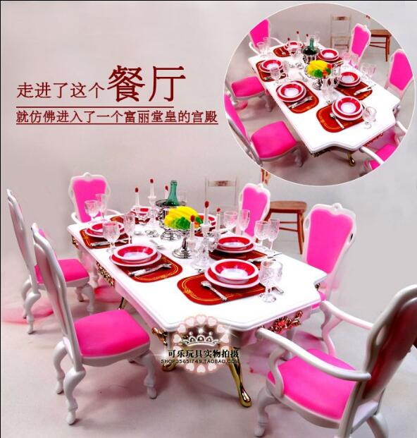 Fashion For Barbie Restaurant Tableware Barbie Princess Doll Family Dinner Dining Table Food Chair House Furniture Accessories