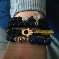 A SET 4pcs OF men/women Beaded buddha skull and evil eye hamsa 8mm black lave stone onyx matte lapis beads yoga mala bracelet