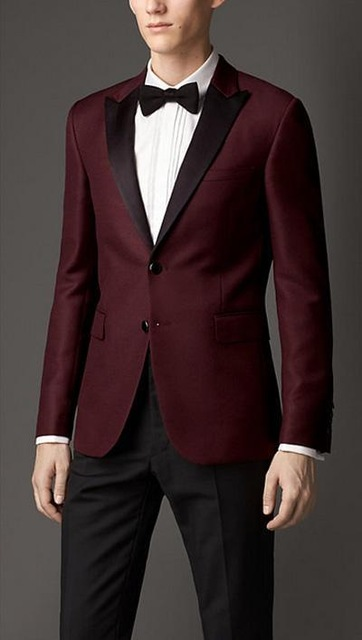 2017 Black Peak Lapel Burgundy Suits For Wedding/Dinner Party/Formal Prom Wear Suits Blazer With Black Pants( Jacket+Pants+tie)