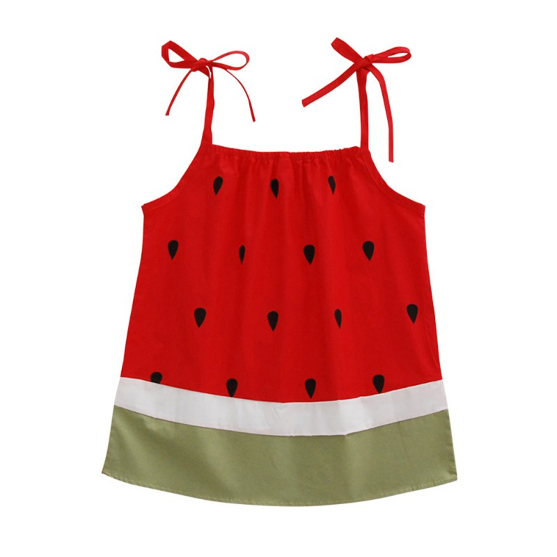 238821281c682 Sling Kids Girls Dresses Watermelon Summer Baby Girls Sleeveless Dress 100%  Cotton Children Clothing Fashion frock for 1-6T