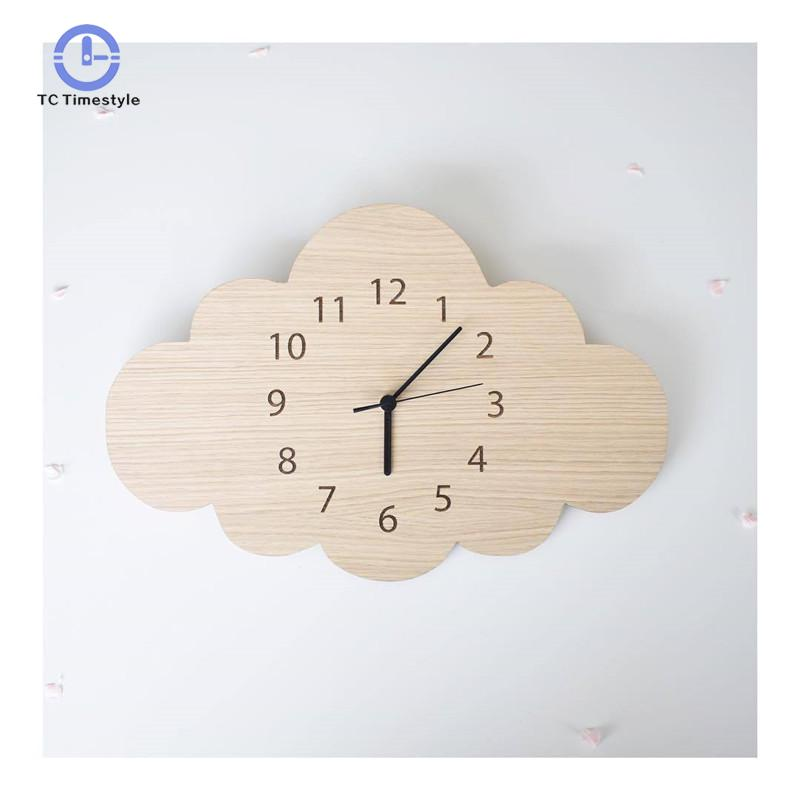 Cloud Mute Wall Clock Wooden Decoration
