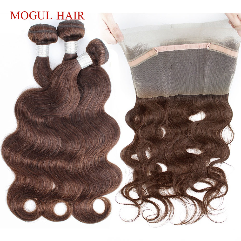 MOGUL HAIR Color 4 Chocolate Brown Brazilian Body Wave 360 Pre Plucked Lace Frontal with Bundle