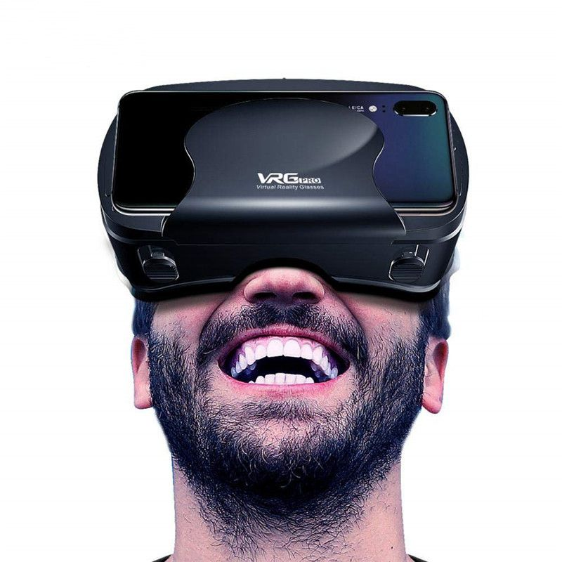 VRG Pro 3D VR <font><b>Glasses</b></font> Virtual Reality Full Screen Visual Wide-Angle VR <font><b>Glasses</b></font> Box For <font><b>5</b></font> to 7 inch Smartphone Eyeglasses Devices image