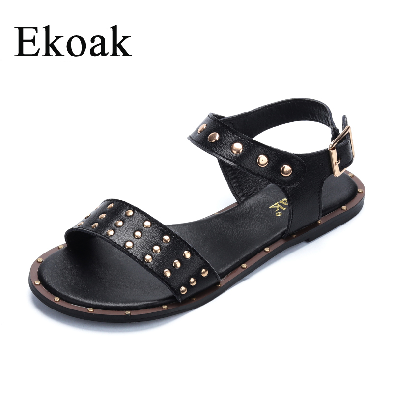 Ekoak Genuine Cow Leather Rivets Casual Women Gladiator Sandals Summer Fashion Sandals Shoes Woman Ladies Beach Flat SandalsEkoak Genuine Cow Leather Rivets Casual Women Gladiator Sandals Summer Fashion Sandals Shoes Woman Ladies Beach Flat Sandals