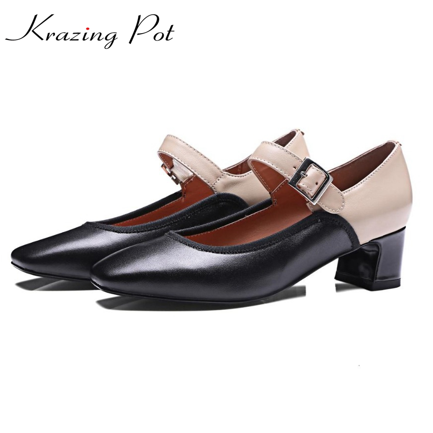 fashion Superstar genuine leather brand shoes slip on square toe thick heel mary janes women pumps runway solid lady shoes L21 2017 fashion brand shoe slip on high heels casual square toe solid women pumps luxury party runway sweet spring lady shoes l06