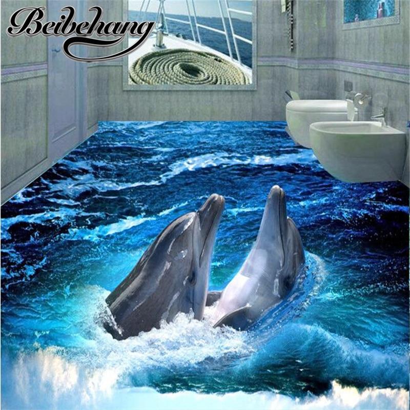 Painting Supplies & Wall Treatments Dolphin Floor Wallpaper 3d For Bathrooms Photo Floor Wallpaper 3d Stereoscopic Custom Photo Self-adhesive 3d Floor Home Improvement