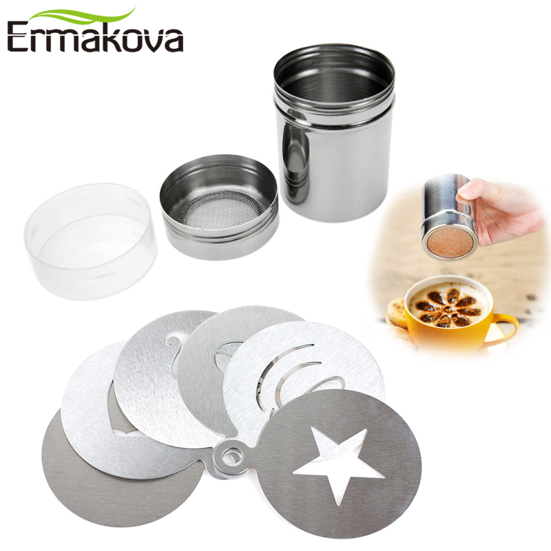 ERMAKOVA Set Of 2 Chocolate Shaker Sifter Lid Chocolate Shaker Cocoa Latte Cappuccino Barista Art Stencil Cake Duster Templates