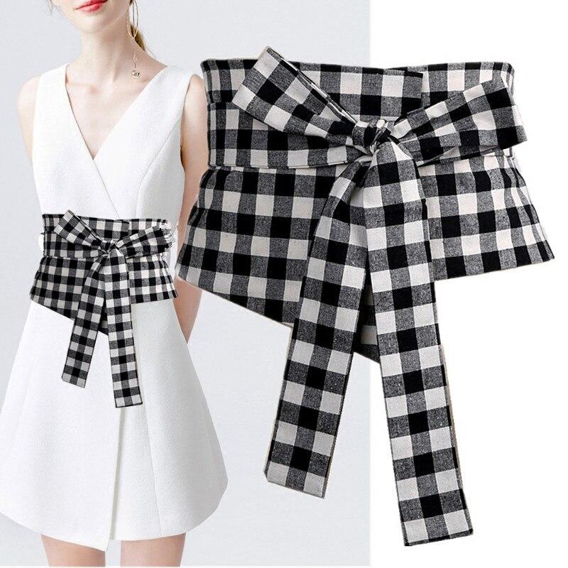 Новый Широкие пояса ремень женские lap сладкий ветер моды, талии решетки талии печать черно-белый вариант.