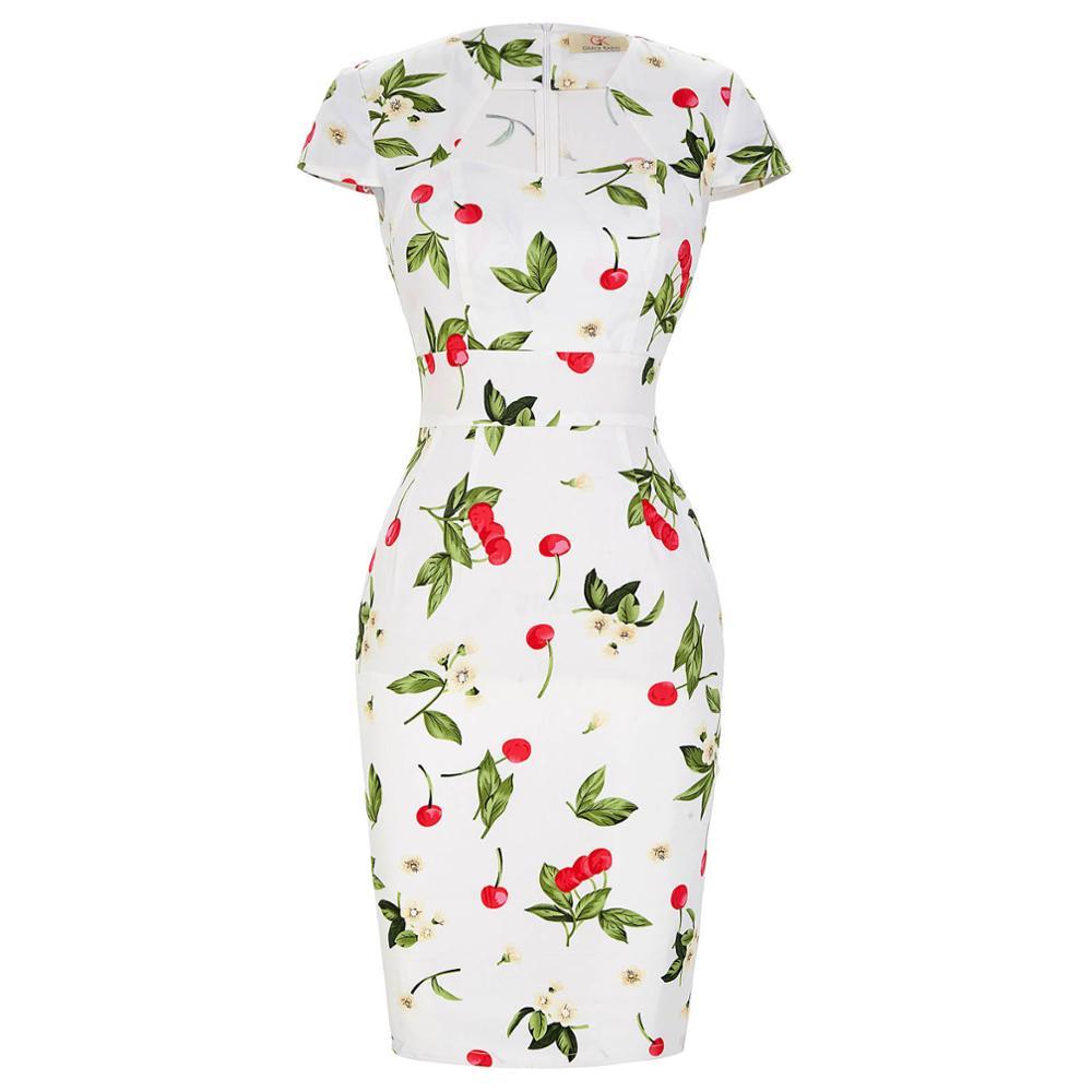 Сексуальное тонкое женское летнее платье, облегающее платье-карандаш из хлопка размера плюс 3XL, винтажное платье 50 s, платье для офиса, платье для работы - Цвет: 16