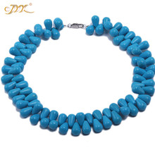 JYX 2019 special Turquoise Necklace 12x18mm Blue Drop Shape Gemstone 17 Beads 24 charming
