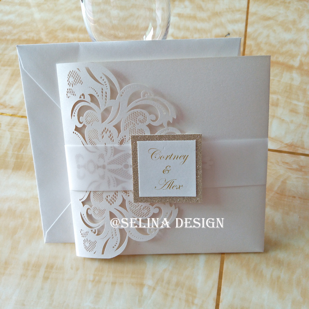 Us 110 0 Luxury Ivory Pearl Laser Cut Pocket Wedding Invitation Kits With Vellum Belt And Glitter Tag In Cards Invitations From Home Garden On