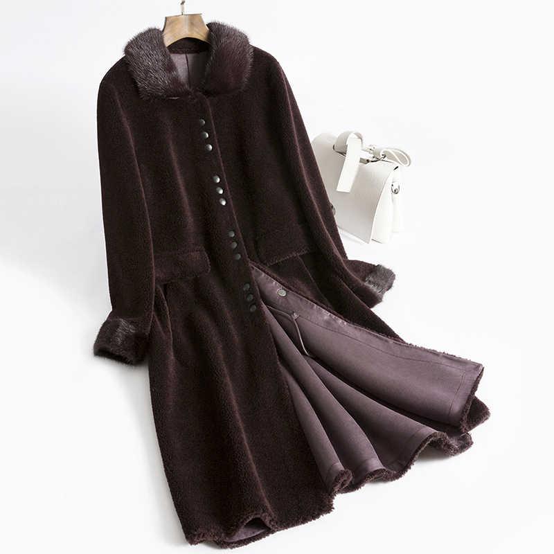 Ayunsue real casaco de pele de vison feminino gola de pele de ovelha shearling casaco de inverno feminino coreano real lã casacos camurça forro my3744
