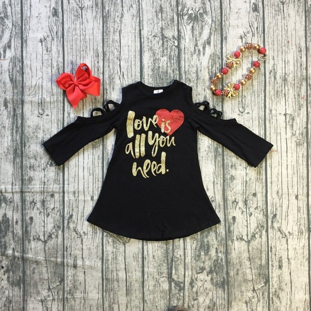 Baby Girls Fall Valentines Day Dress Clothing Children Girls Wear V Day Love Is All