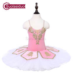 Для девочек розовый сценическое балетное костюмы с пачкой спальный Красота себе свободу для бальных танцев Apperal Детские Балетные платья