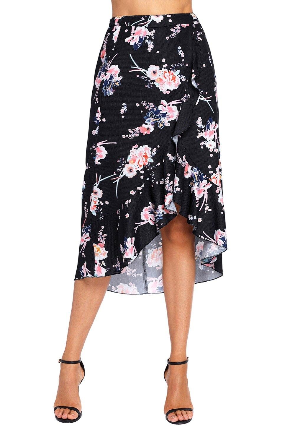 3796545eb5301 Women Vintage Floral Ruffle Wrap Skirt High Waist Black Pink ...