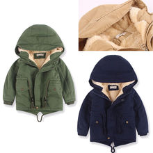 Kids Boys Winter Warm Fur Hooded Wind Jacket Outdoor Military Coat Down Parka Enfant Boy Girls Wool Blends Coats Outerwear