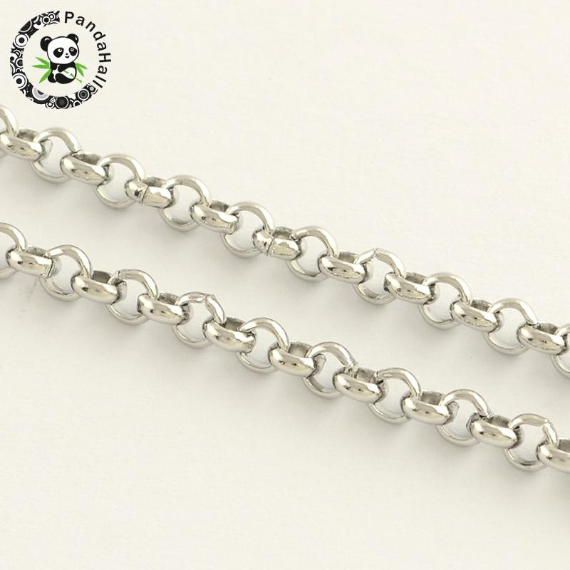 304 Stainless Steel Cross Chains Unwelded Stainless Steel Color 3 2x1 2mm about 50m roll