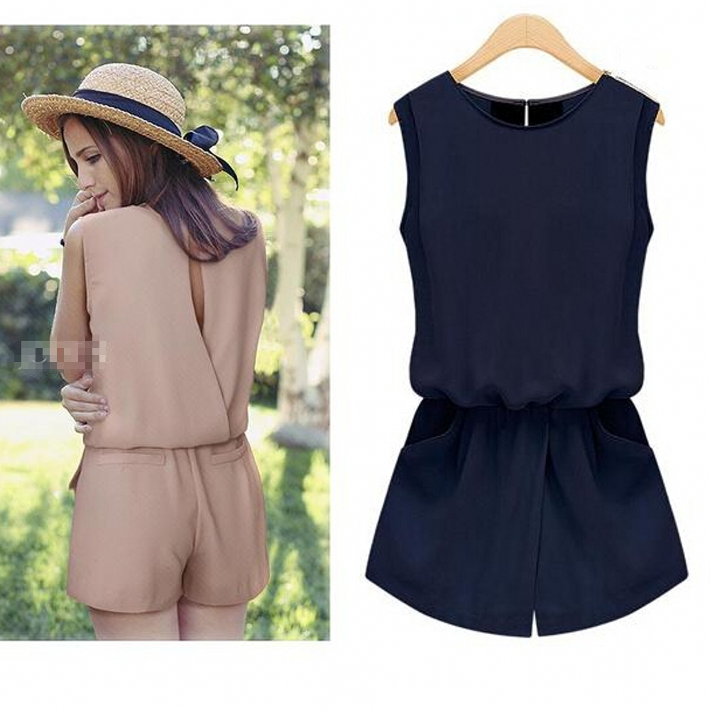 Macacao feminino Summer 2018 Chiffon   Jumpsuit   Women One Piece Back Hollow Out Playsuit Overalls Rompers With Pockets S5455