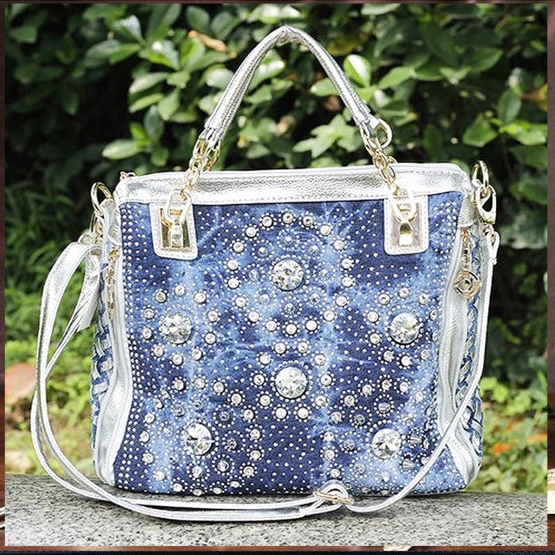 Gold and Sliver denim jean casual women handbags designer weaving shoulder bags