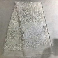 French Lace Fabric High Class African Laces Fabric Double Organza With Sequins Embroidery For Sewing Beauty Women Dress X275 1
