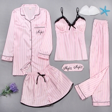 Комплект женский кружевной из халата, топа, шортов и брюк, 5 предметов