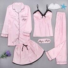 סקסי נשים של חלוק שמלת סטי תחרה חלוק רחצה + Cami + מכנסיים + מכנסיים 5 חתיכות הלבשת נשים לישון סט פו משי Robe Femme הלבשה תחתונה