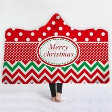 Christmas Hooded Blanket For Adult Kids Dot Ripple Cartoon Travel Wearable Mantle Sherpa Fleece Throw Sofa Bedspread Koc