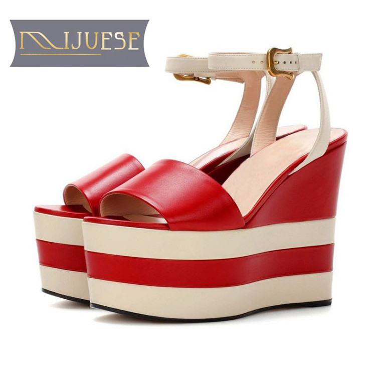 MLJUESE 2018 women sandals cow leather red color ankle strap open toe platform beaches sandals wedges sandals party dress criss cross colorblocked women velvet platform sandals red black green fashion mixed color ankle strap party sandals shoes woman