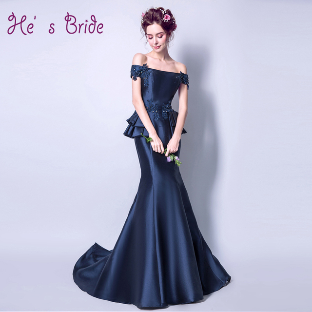2017 New Arrival Dark Blue Boat Neck Court Train Evening Dress Robe De  Soiree Modern Elegant Classic Prom Dress Vesta De Festa 4dfc61b4e0d4