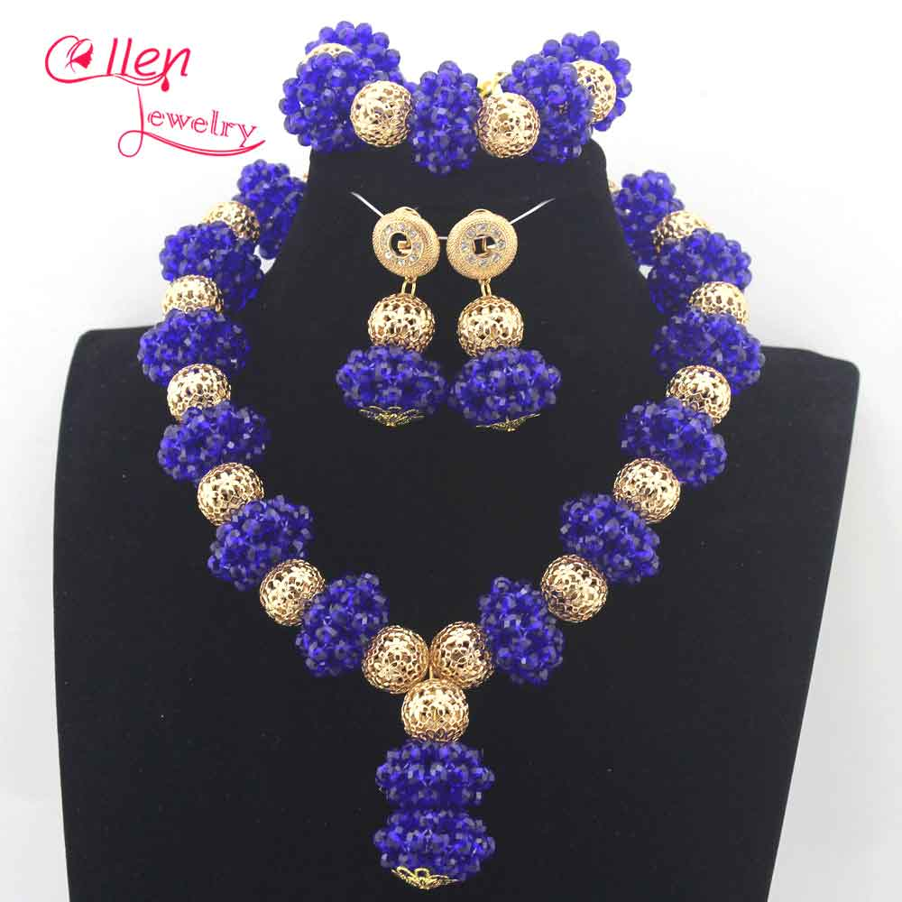 Royal Blue Wedding Beads Jewelry Set Chunky Bridal Crystal Necklace Earrings  Set Dubai Gold Women Costume Jewellery Set N0066