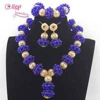 Royal Blue Wedding Beads Jewelry Set Chunky Bridal Crystal Necklace Earrings Set Dubai Gold Women Costume Jewellery Set N0066