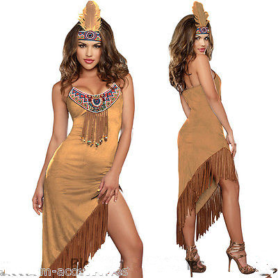 bcf13b35358 Women Ladies Pocahontas Native American Indian Wild West Fancy Dress Party  Costume Sexy Pow Wow Tassels Feather G-string Q1202