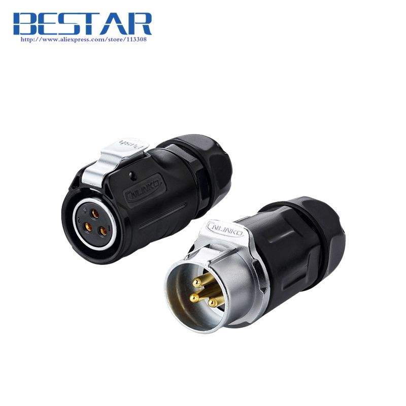 Industrial waterproof Aviation Connector 2pin 3pin 4pin 5pin 7pin 9pin 12pin Plug socket, IP67 LED Power cable connectors 1set wp20 2pin waterproof chassis panel mount aviation plug cable connector 30a 500v