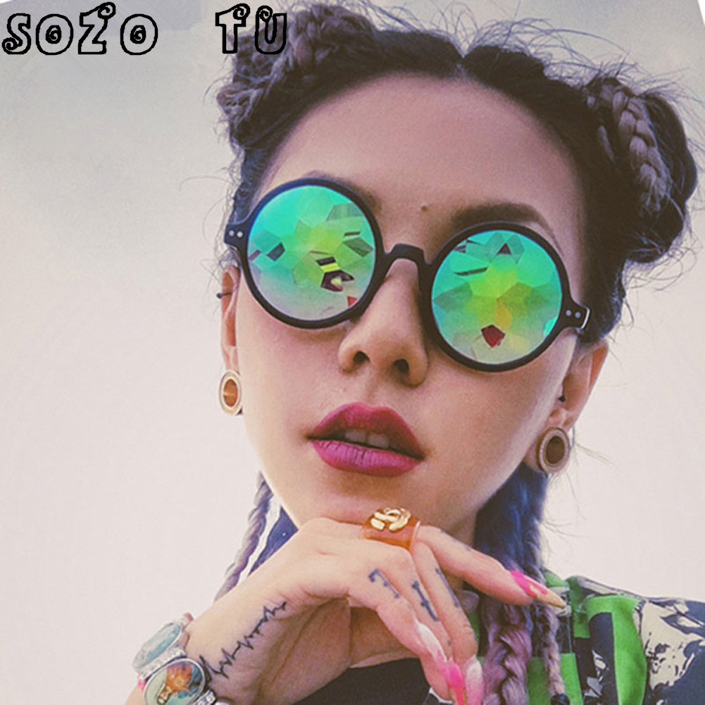 SOZO TU Retro Round Kaleidoscope Sunglasses dancing party Men Women Kaleidoscope lens Glasses retro de sol Rave Festival gozluk