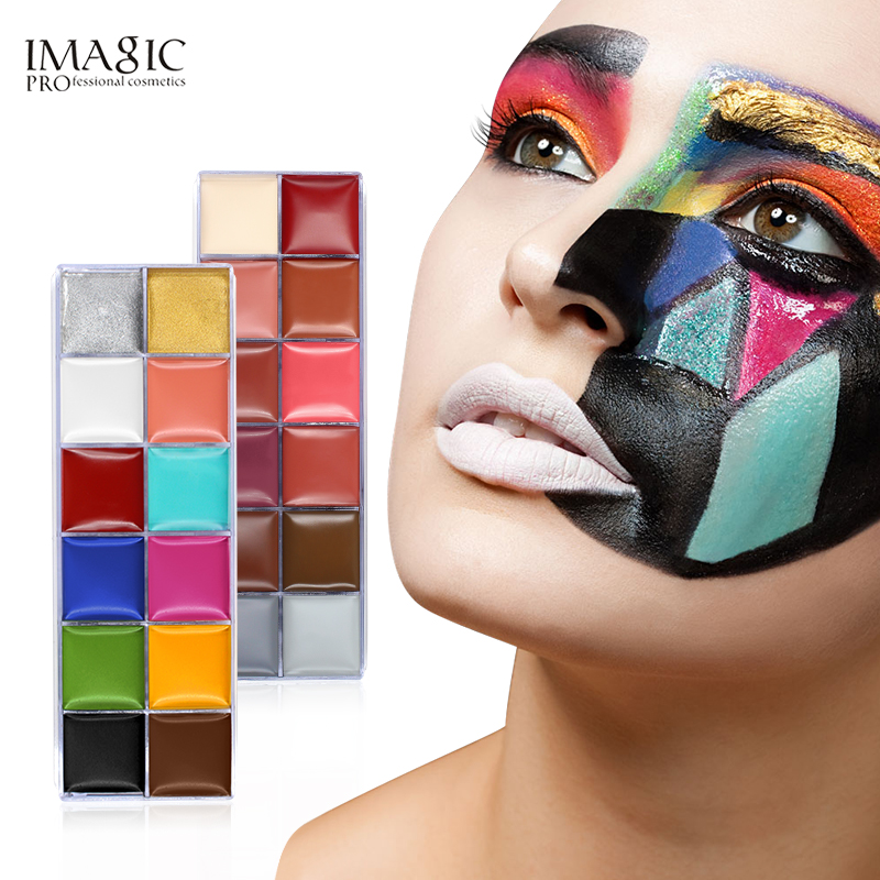 IMAGIC Halloween Face Body Paint Oil Painting Art Make Up Set Tools Party Fancy Dress 12 Flash Tattoo Color+6pcs Paint Brush