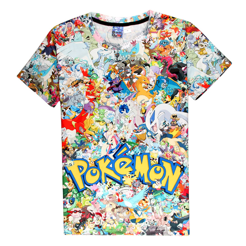 Unisex Daily TopCartoon Pokemon Printing T Shirt Men Women Casual Daily Tee Couple Top Summer Short Sleeves Lover Top