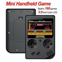 Built-in 168 jogos retro portátil mini handheld game console 3.0 Polegada cores lcd crianças jogador de jogo de cor bateria de lítio embutido