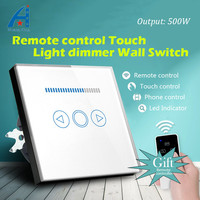 80*80 EU Standard Dimmer radio touch switch with Wireless Remote control light dimming switch, High quality Crystal glass panle