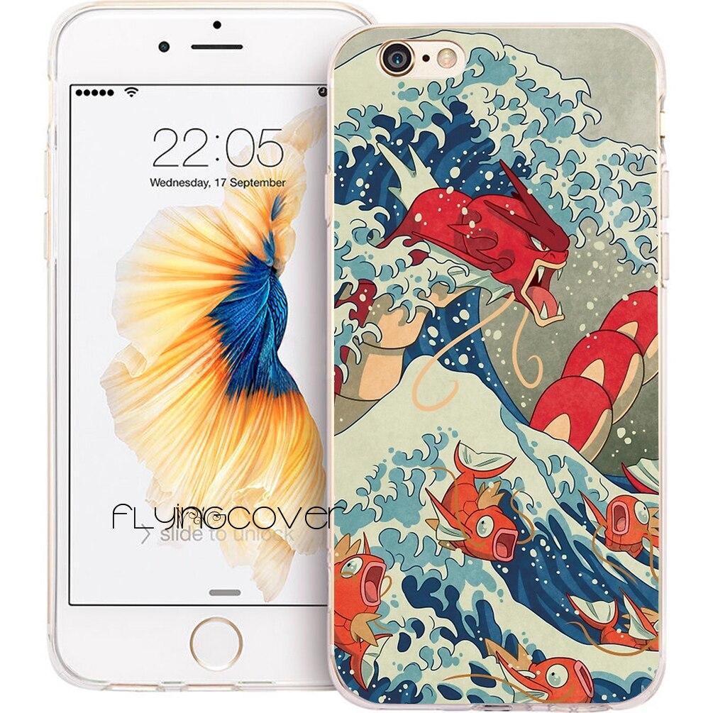 Coque Anime Grande Vague Funda Doux TPU Silicone Couverture de Téléphone pour iPhone X 7 8 Plus 5S 5 SE 6 6 S Plus 5C 4S 4 iPod Touch 6 5 Cas