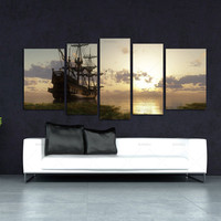 5 Panel Wall Art Painting Fantasy Ship Sail Boat In Lake Sunset Prints On Canvas Oil