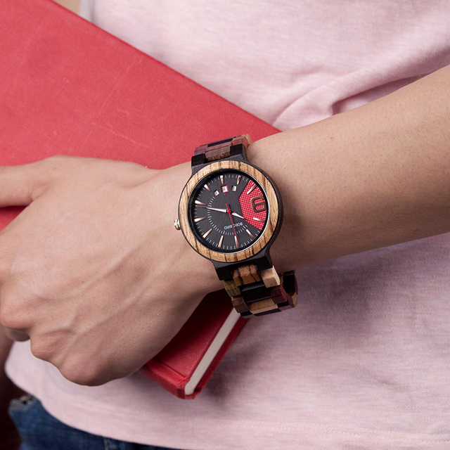 BOBO BIRD Unique Dail Auto Date Colorful Wood Band Wrist Quartz Watches 3