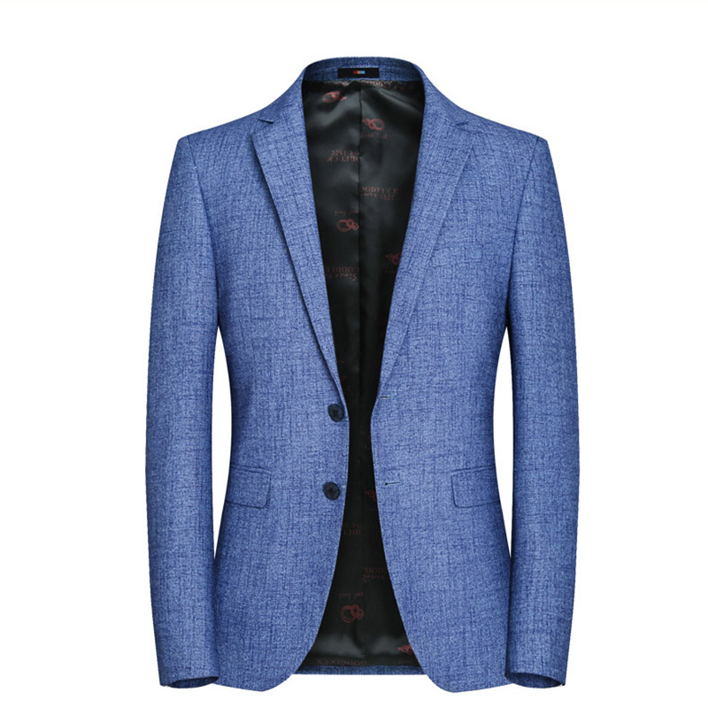 Sensfun High Quality Light Blue Man Suit Blazers Jacket Silm Style Casual BusinessCoat Two Buttons For Wedding Party Solid Color