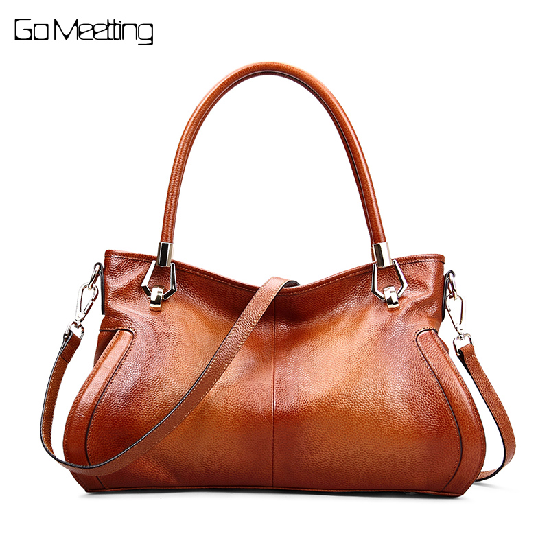 Go Meetting Genuine Leather Women Handbags High Quality Shoulder Bag Vintage Crossbody Messenger Bags For Women 2018 sac a main women genuine leather messenger bags sac a main shoulder bags women crossbody bag ladies high quality cow leather handbags