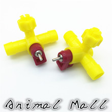 10 PCS Yellow Tee drinking Ball drinking Chicken Waterer 14.5cm Tee 360 degrees Chicken Cages Accessories Quail Waterer