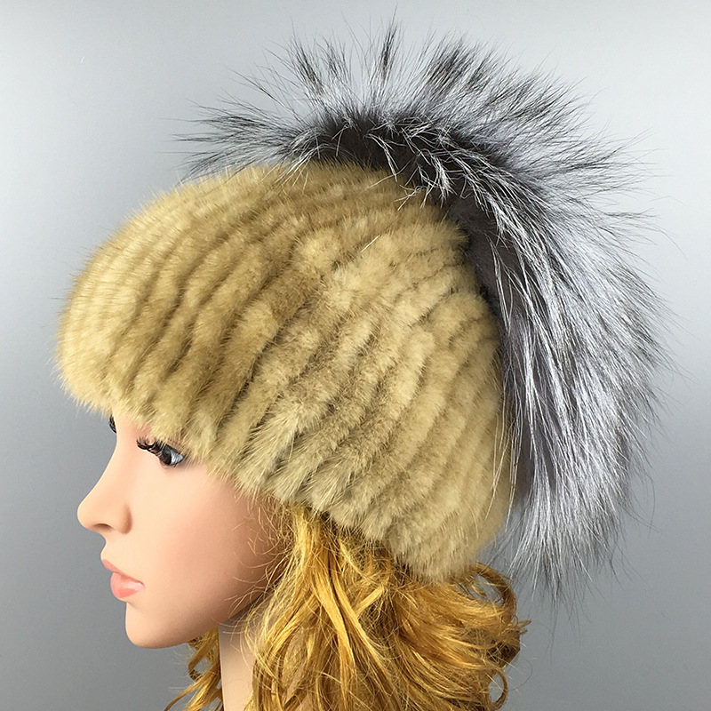 Maylooks Luxury Handmade Fox Fur Caps Women's Warm Caps Hats Ladies Cute Caps Beanies  Ear Flaps Kids Warm Party Cap