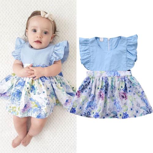 2018 Brand New Summer Toddler Infant Newborn Baby Girls Floral Princess Party Pageant Ruffled Sleeveless Sundress Dresses 0-24M