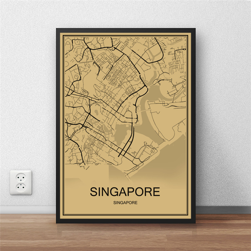 Hot Sale SINGAPORE Krafts Paper World Map Vintage Poster Retro Painting Art Wall Picture Living Room