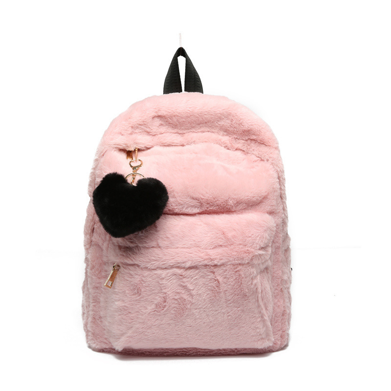 Cute Solid Faux Fur Backpack Heart Pendant Winter Soft Women's Big Plush Backpack Pink Black White Rucksack Mochila