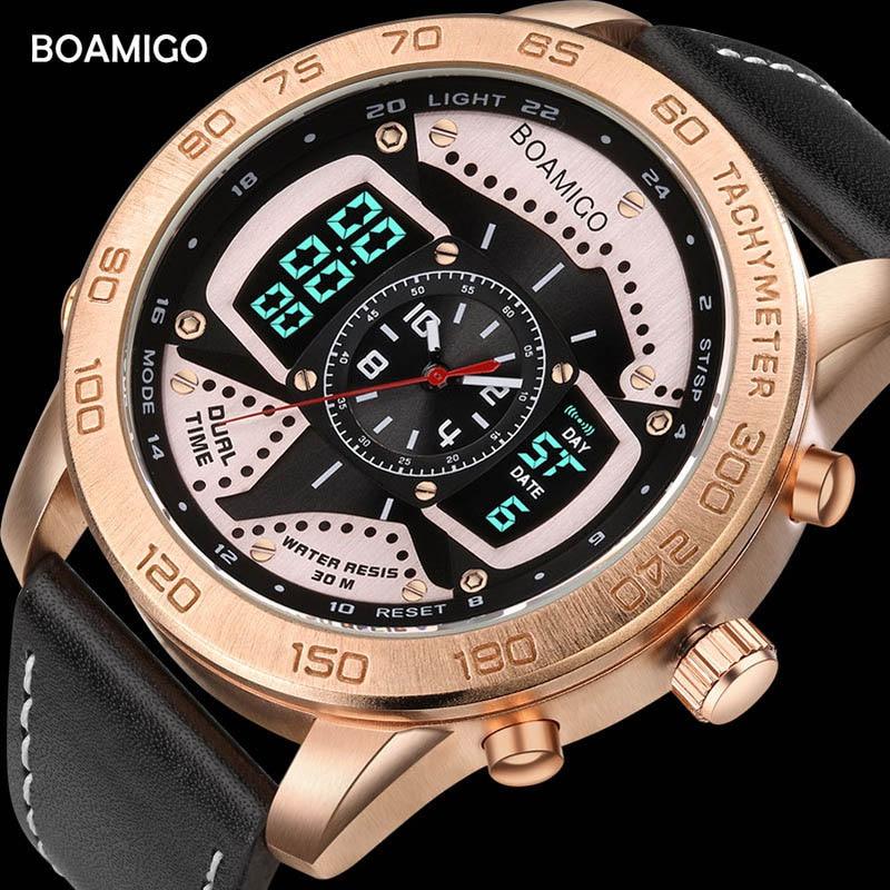 BOAMIGO Digital Watch Men Sports Waterproof Multiple Time Zone Double Display Quartz Watchs Luxury Business Wristwatch New 2019