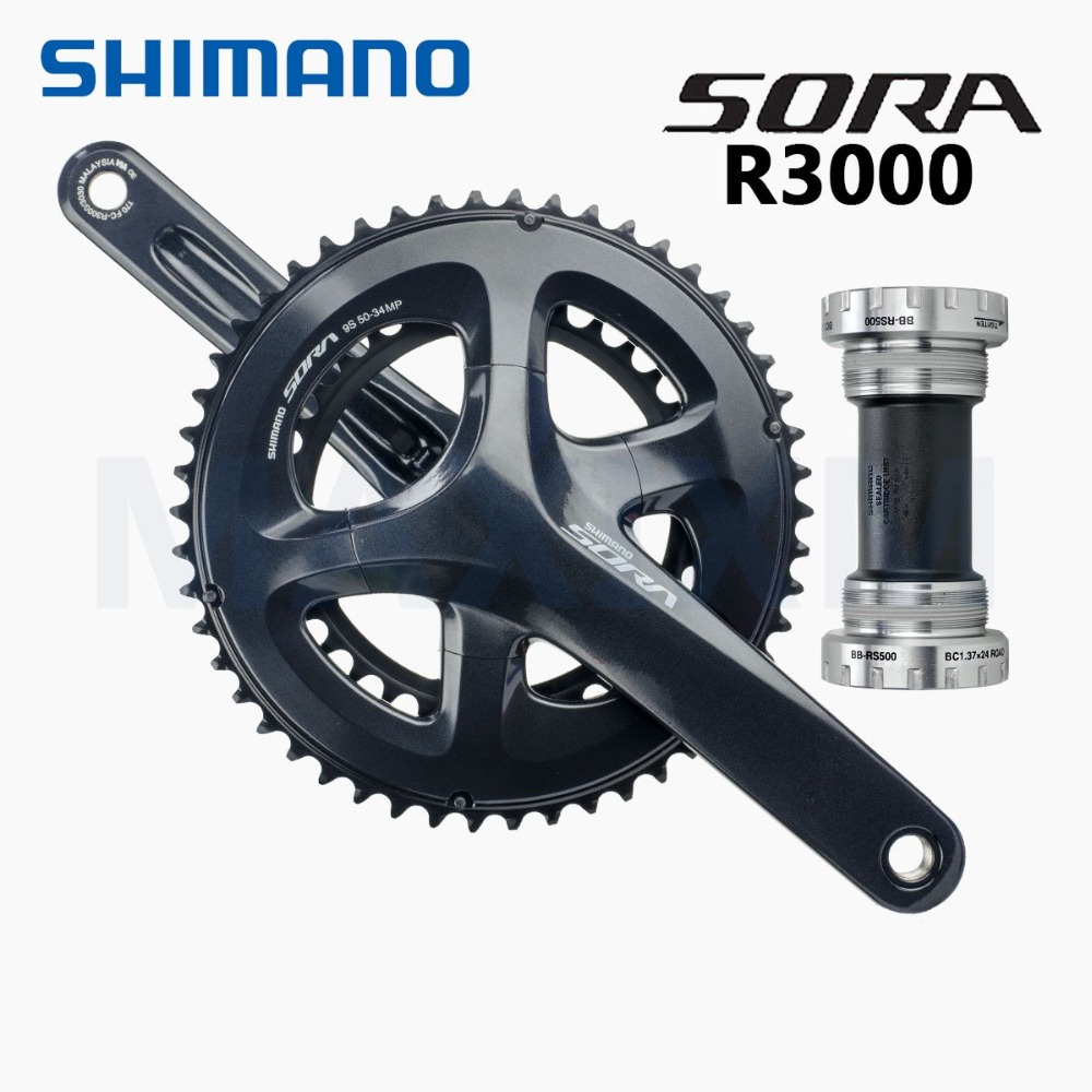 SHIMANO SORA R3000 170MM--34/50T 9-SPEED ROAD BLACK BICYCLE CRANK цены